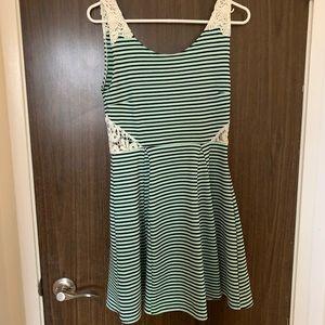 Mint Green and Black Striped Dress